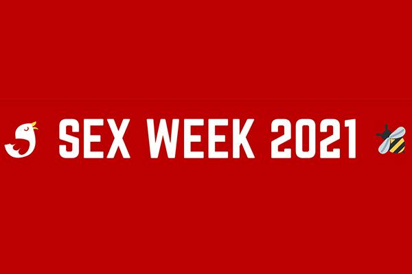 Sex Week 2021 logo, with a bird and a bee on either side of the text