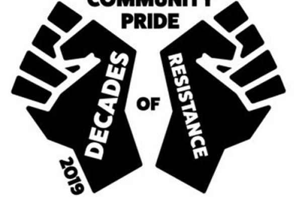 "Community Pride 2019 Logo- Two fists with ""Decades of Resistance"" written"
